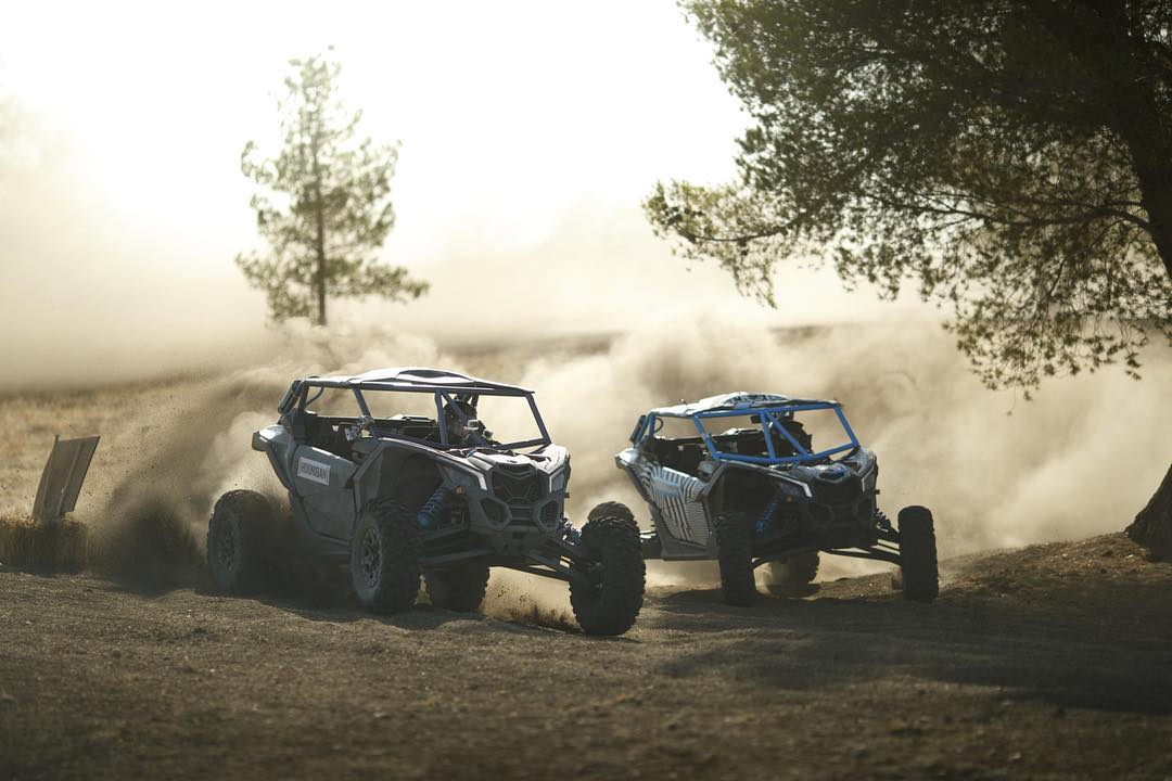 @Kblock43 VS @bjbaldwin. Heads up and flat out in #battlebroyale! Coming Sept 27th. #canam #maverickx3