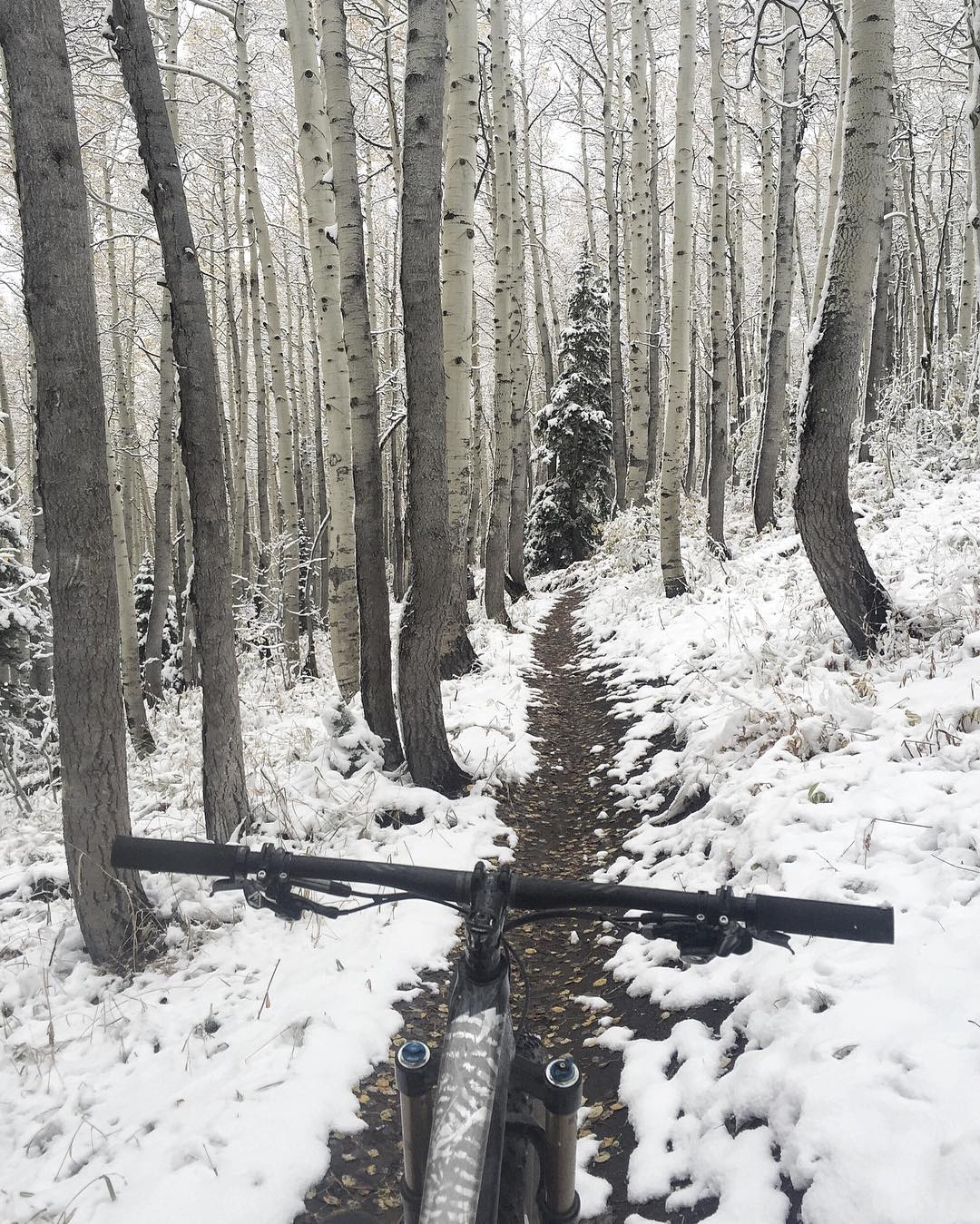 Love this view any time of year, but especially during the change of seasons. And. I really love sketchy conditions on the trails - makes for an interesting challenge. Ha. #ParkCity #winteriscoming #sketchysurfaces #mountaintownlife #iamspecialized...