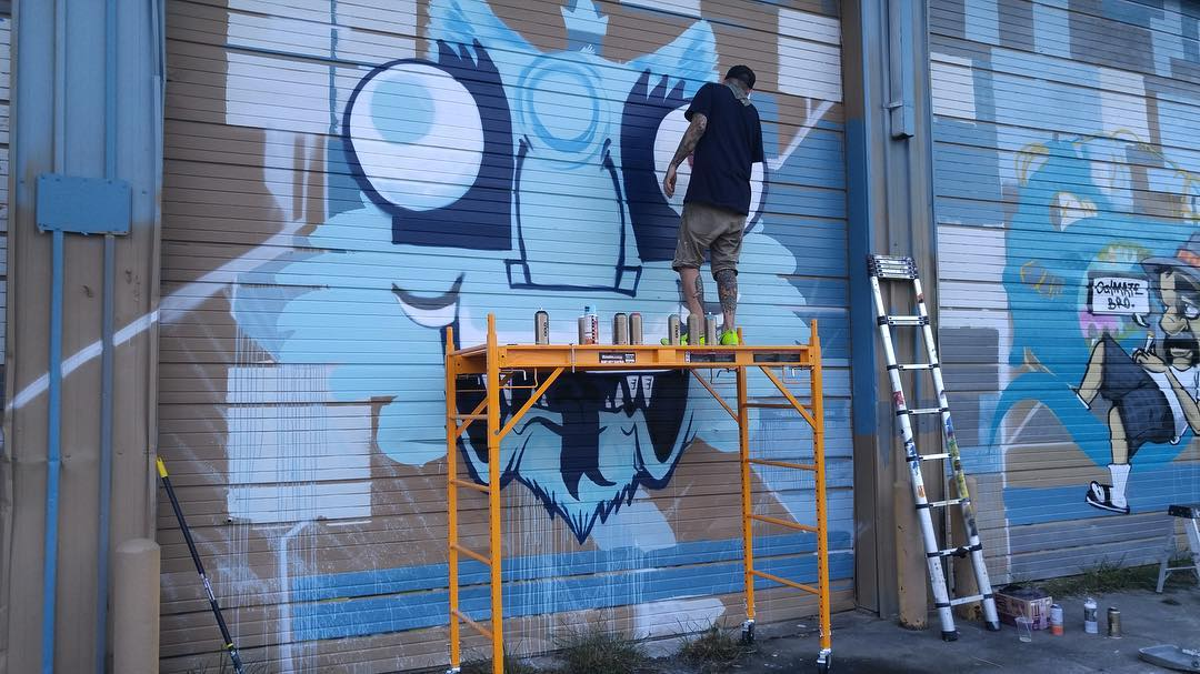 WIP by @brikslovesyou @grim_atx & @a_deko_z of the Blue Dozen Collective #BDC at @mos.houtx Meeting of Styles. • • #texas #MOS #meetingofstyles #htx #houstontx #tx #art #graffiti #grafite #streetart