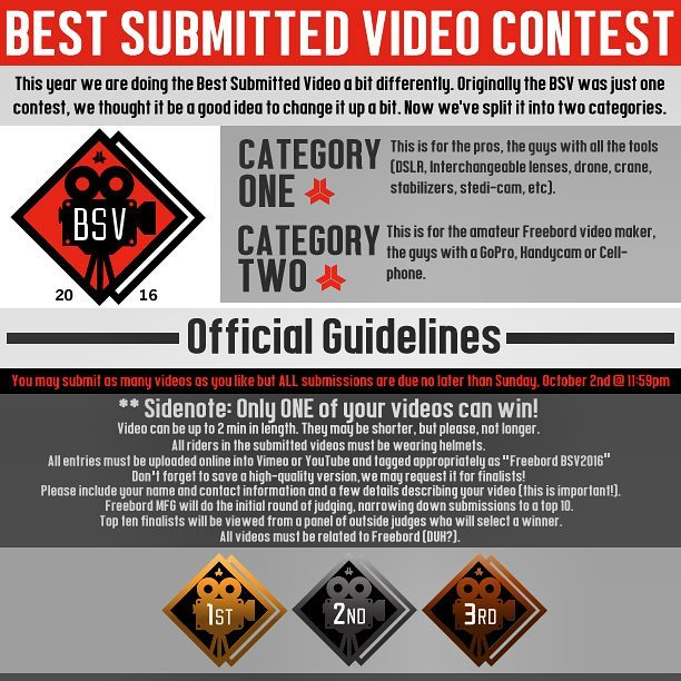 6 days left to get your Best submitted video in! Check out http://Freebord.com/bsv-submission/ for more details  #Freebord #snowboardthestreets #BSV #bestsubmittedvideo