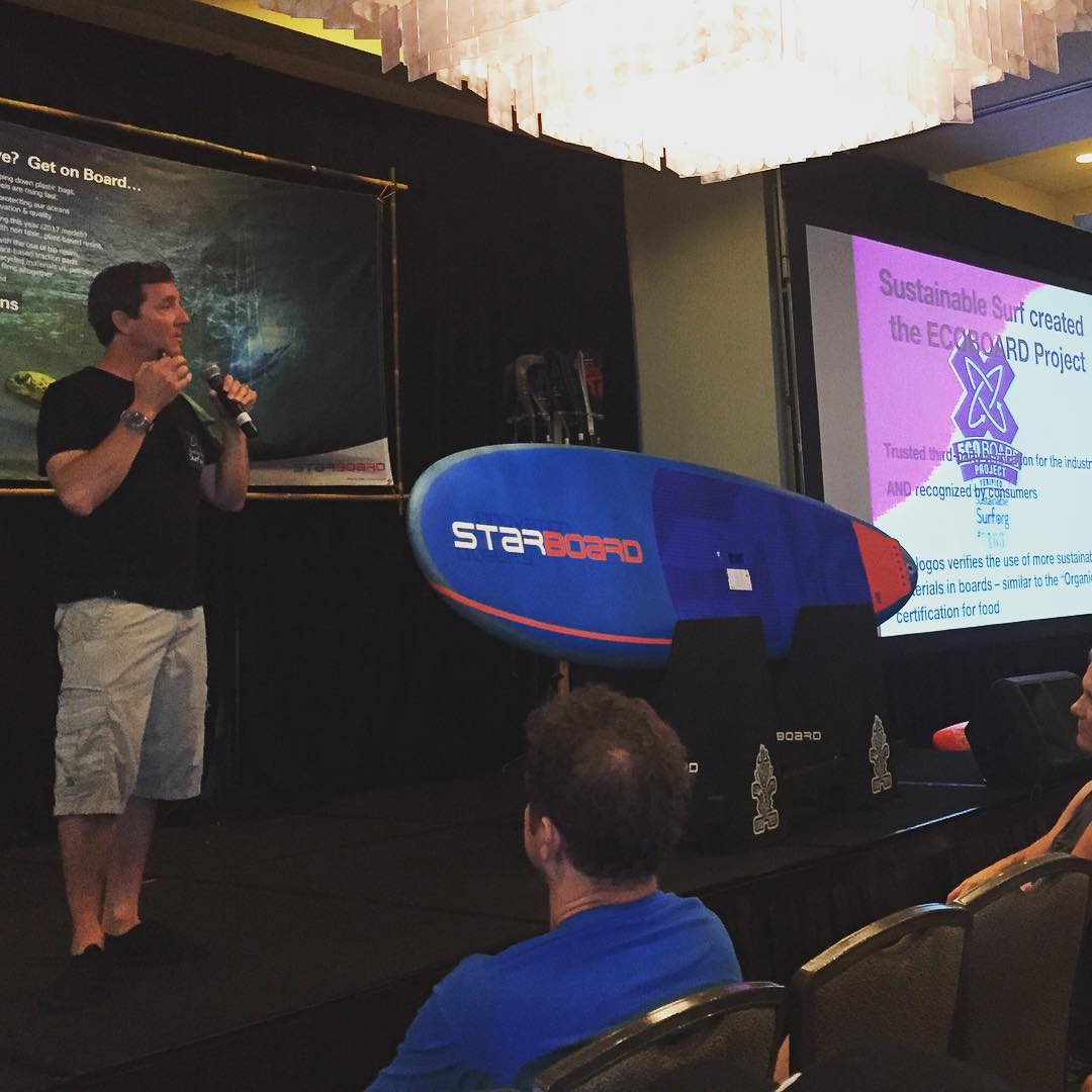 Stoked to grab the #MIC this morning at the @starboardsup Summit, to talk about how our #ECOBOARDproject program has been helping them to make a whole new quiver (Kite/Wind/SUP) of ocean going #boards to g more #eco .