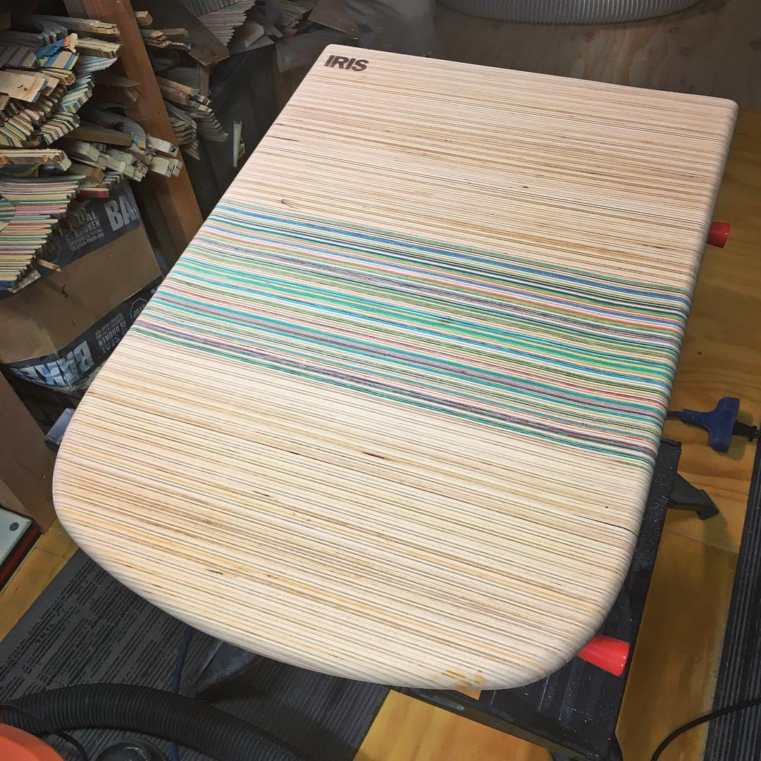 Finishing up this recycled skateboard table for my fiends mini house. It's really gonna tie the room together. #recycledskateboards #irisskateboards #thedudeabides