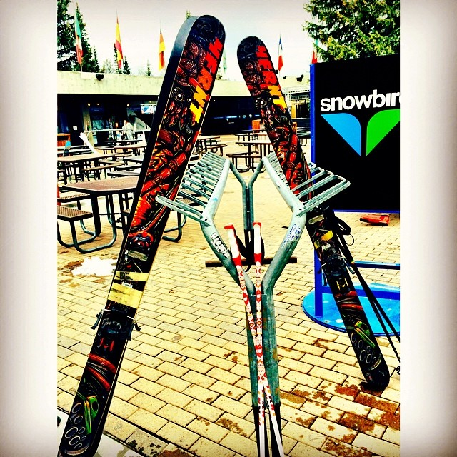 Just goes to show you can't judge a book by its cover.  #kye #prototype on the left and 1415 #devastator on the right. #4frnt product testing commences this weekend at @snowbird. See you diehards up there. #riderowned #slashingslush #mayslay