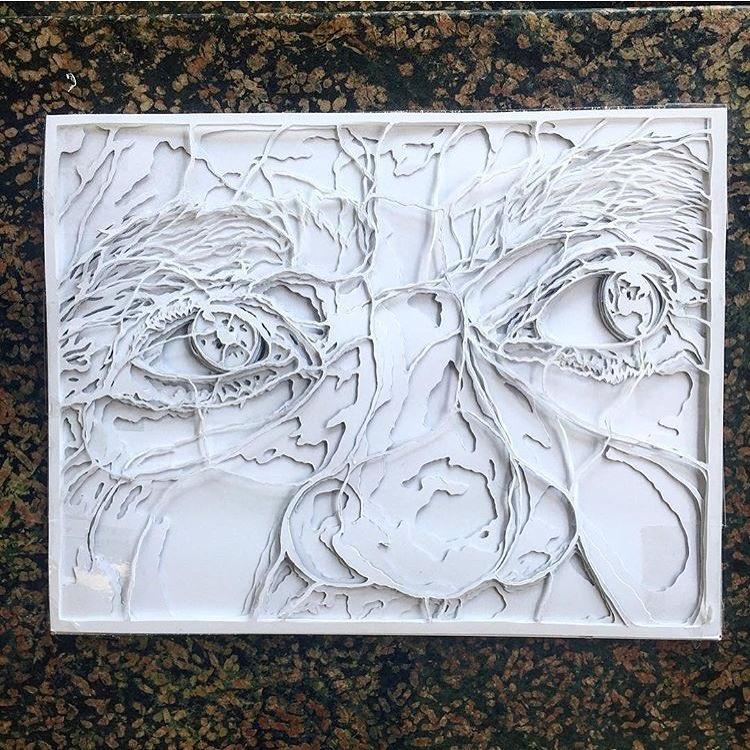 """@g52cube • • """"Monte"""" hand cut 4 layer stencil • • #atx #austintx #texas #tx #spratx #g52 #art #stencil"""
