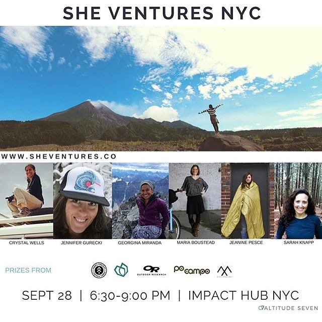 NYC: Join us tonight for an evening of Adventure + Inspiration + Community at @outdoorfest with SheVentures speakers @thisisrange @Po_campo @altitudeseven and @misadventuresmg