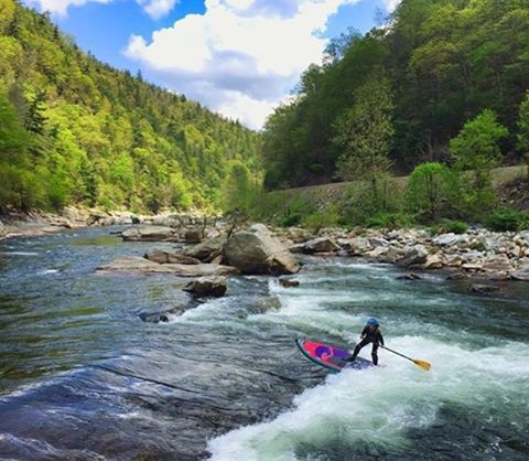 Great shot of @gnardia doing what she loves best!  Explore, travel, SUP.