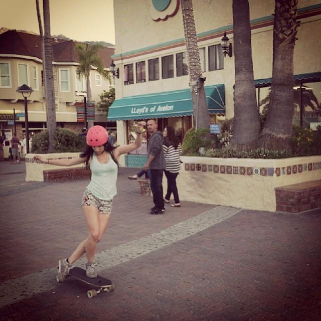Last week at Catalina Island. @cocomarii skating through the town #skatergirl #catalina #california #takemeback #xshelmets