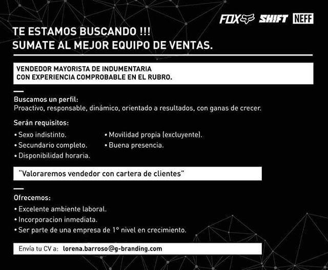 [Trabajo en FOX] Sumate al mejor equipo de ventas!  En Fox Head Argentina estamos buscando un perfil proactivo, responsable, dinámico, orientado a resultados y con ganas de crecer. ¿Pensás que calificás para el trabajo? Envía tu CV por correo a...