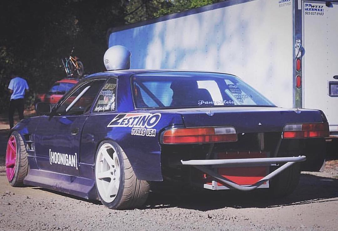 Bash bar pride with our homie and BMX shredder @calebquanbeck. #240sx #s13 #justaintbumper
