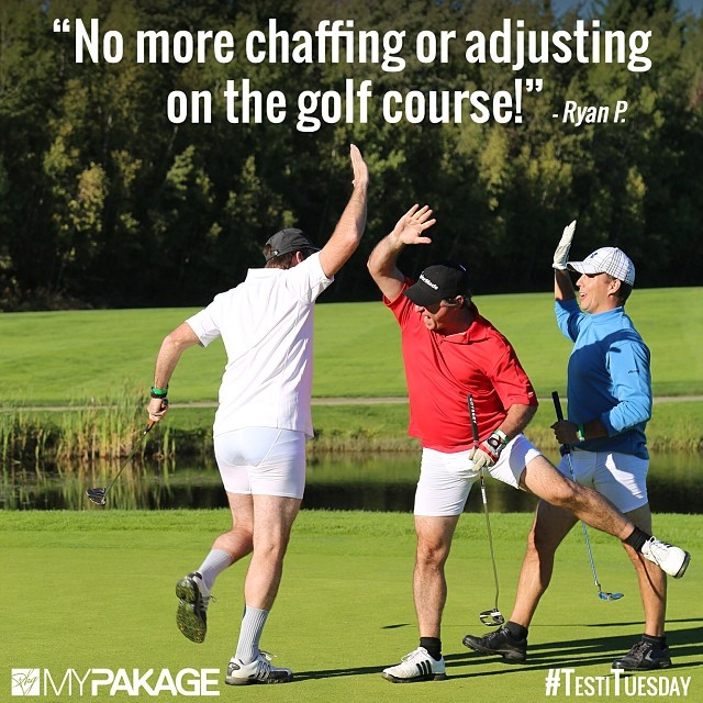 Keep your balls on the fairway and not stuck to your leg. #MyPakage #comfort #support #testimonials #TestiTuesday