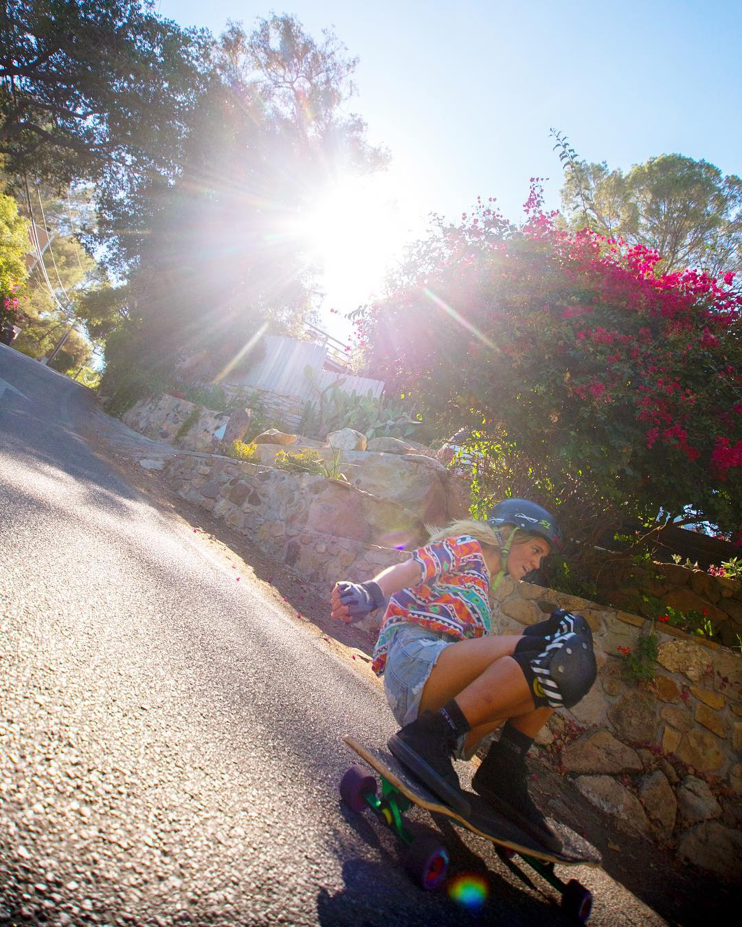 #OrangatangAmbassador @pandaskate sliding through light spots in colorful Topanga roads.
