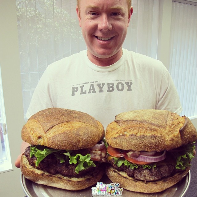Who needs a birthday cake when you can have a giant birthday burger! Happy Bday to one of our burger loving founders! #playboy