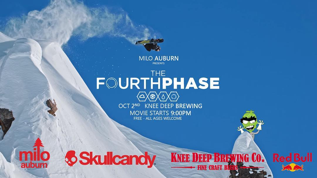 "Travis rice's new movie ""The Fourth Phase "" this Sunday at knee deep brewery in Auburn . All raffle proceeds will be going to the new Colfax skate park .  Insane shred flick for a great cause . Hope to see you there! @milo_auburn @kneedeepbrewingco"