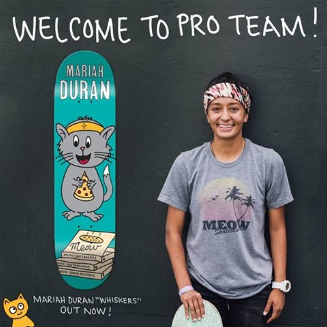 "Congratulations @mariahdurandoe!!! Repost from @meowskateboards : We are proud to welcome Mariah Duran to the Pro Team! ""Whiskers"" debut pro model out now! Be sure to check her out at @sls Super Crown World Championship this weekend and in the..."