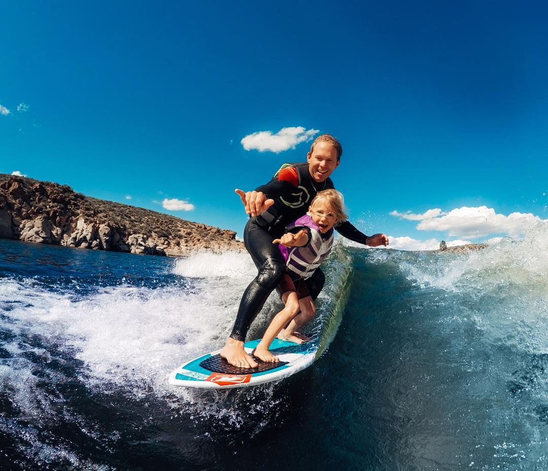 Photo of the Day! Friday's are for #wakesurfing! So stoked for the little ripper, way to start em young! #