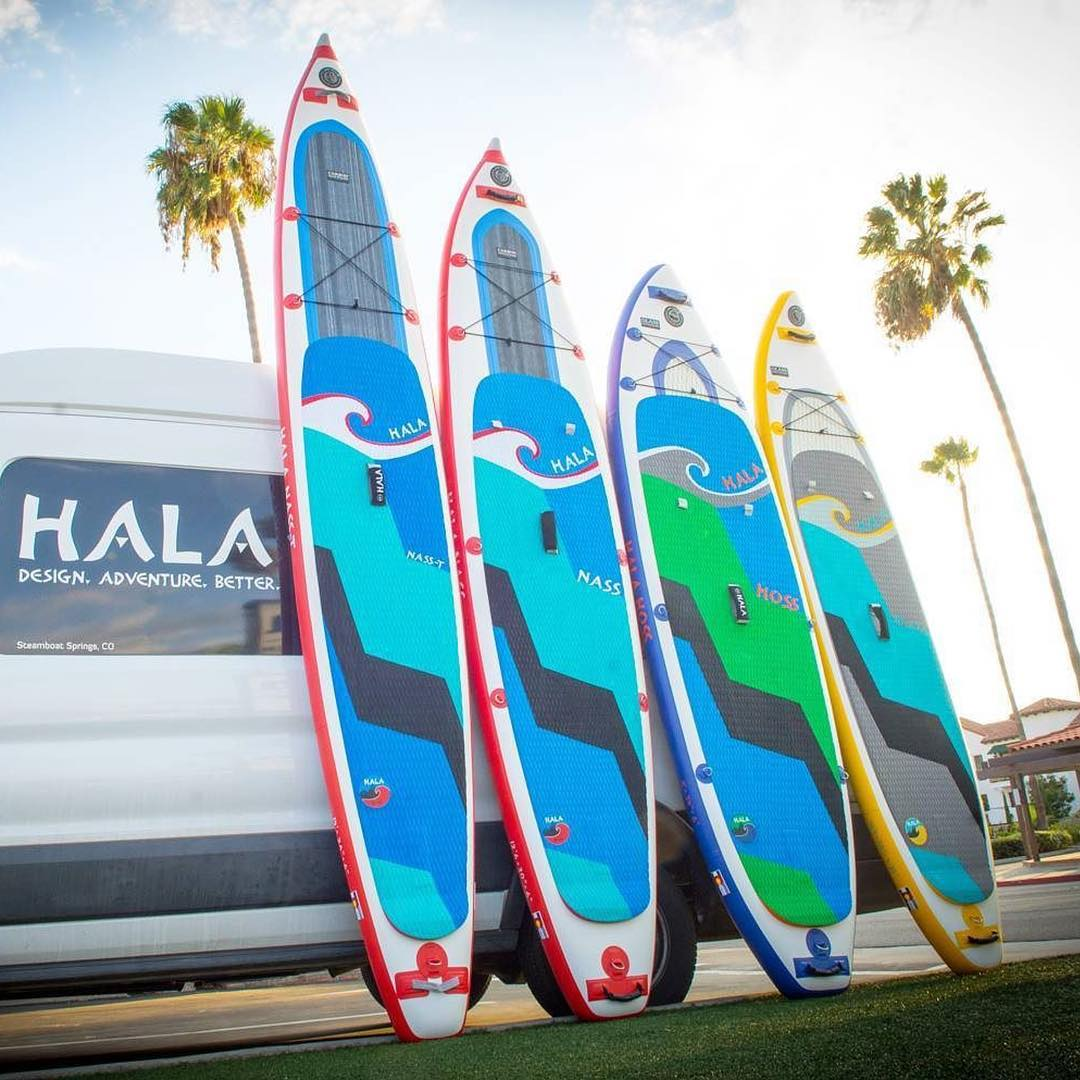 HalaGear #athletes @suppaul_pics, @saadventuresports, and @flowathlete are in SoCal for the #pacificpaddlegames showing off the 2017 Carbon and Glass Hybrid Inflatable™ boards and supporting Cami @flowathlete in the races this weekend!  #halagear...