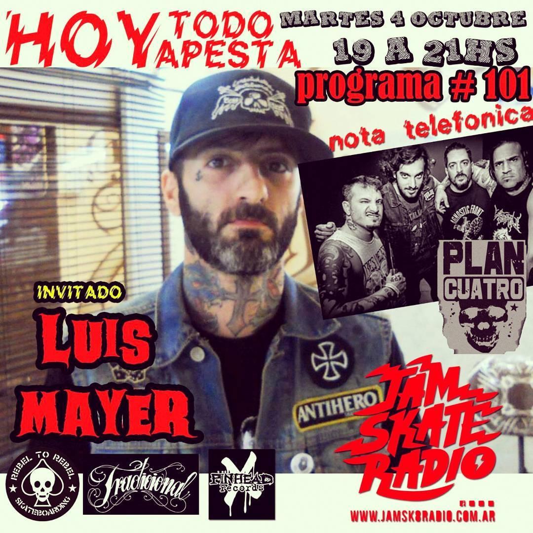 Prox martes en @hoytodoapesta x la @jamsk8radio nos visita @luismayerart #tattoo + nota con @plancuatro