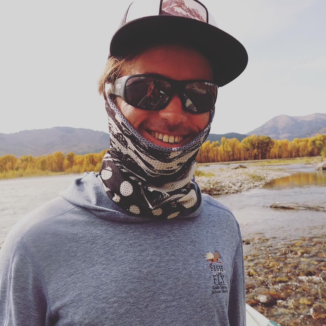 Fishing guide and backcountry splitboard guide @nathanielmurphy all smiles out on the Snake river chasing big trout. Rocking the new Reeldeal Mesh 'Shield and the Vintage Teton SnapBack. www.a-7.co  #liveactivated #flyfishing