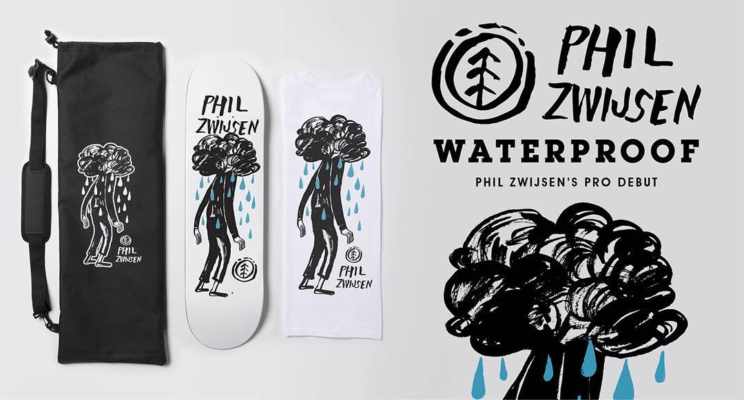 In honor of @philzwijsen's pro debut, we're giving away the Waterproof Capsule to one lucky winner! >>> Capsule includes the Waterproof 8.3 Featherlight Deck, a Waterproof skateboard bag, and an Element tee with artwork by @nathanielrussell >>> Link in...