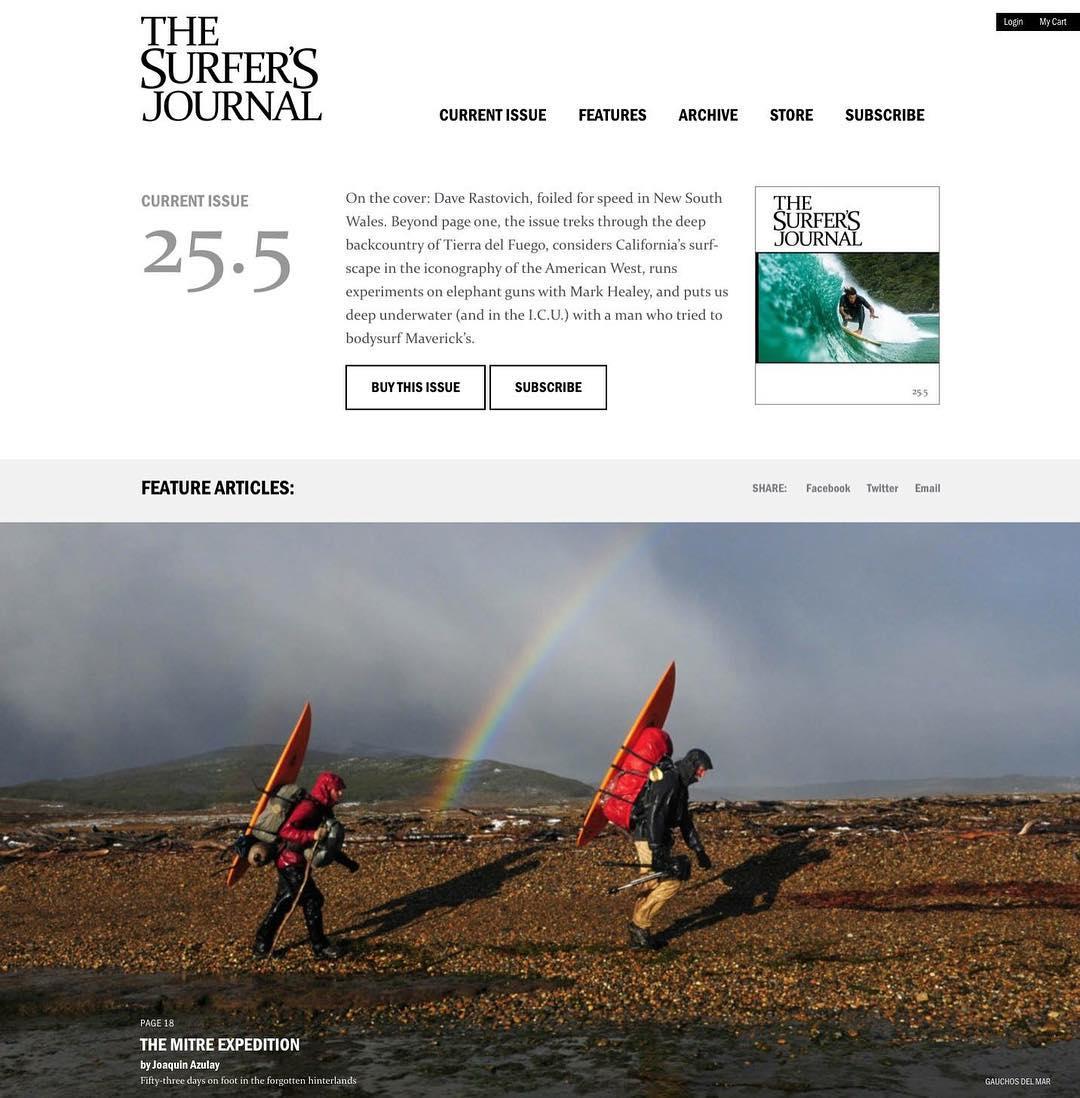 Felices por la nueva nota de 16 páginas sobre la expedición por #PeninsulaMitre en la edición actual 25.5 de @surfersjournal.  Al que le interese, puede conseguirla aquí: https://www.surfersjournal.com/current-issue/. @santiago_aguerre @fernandoaguerre