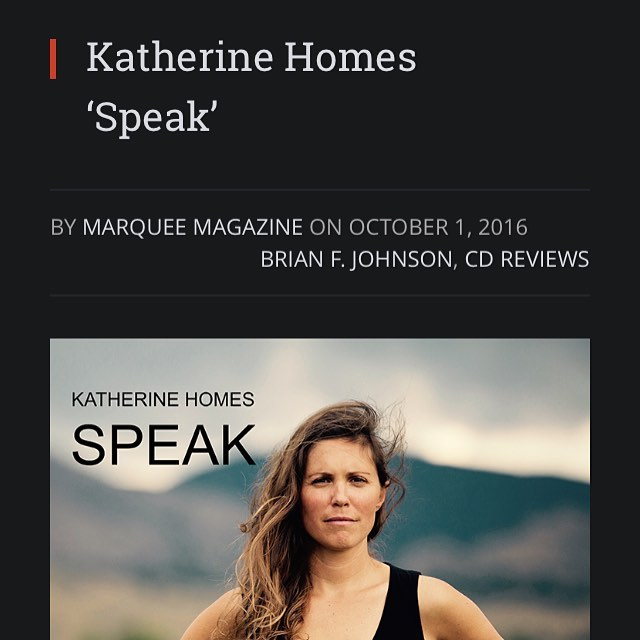 Just got my first review on the album. Honored.  @marqueemag. http://marqueemag.com/2016/10/katherine-homes-speak/
