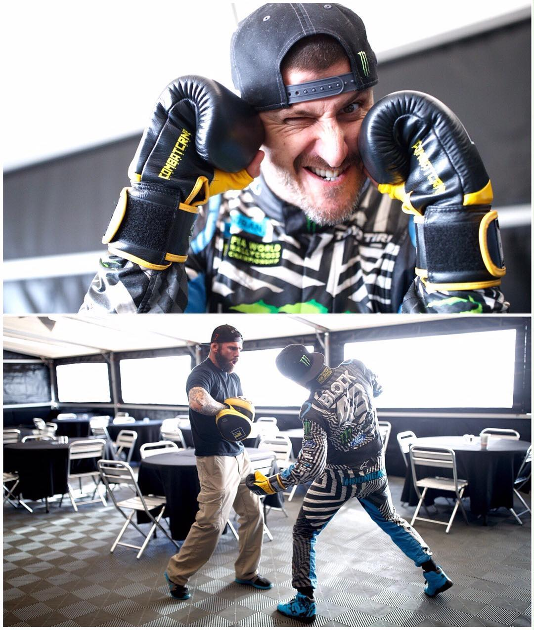 Here are some shots from a standard Saturday warmup session with our team trainer, Mr. @KitCope. If I'm doing pad work with Kit on a Saturday - whilst in my race suit - it can only mean one thing: it's race day! #kickboxingFTW #LatviaRX