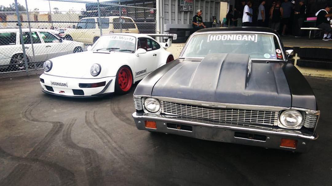 Right or left? Just some of @brianscotto's fleet - American muscle and racing prestige. #RWBxHOONIGAN #NapalmNova