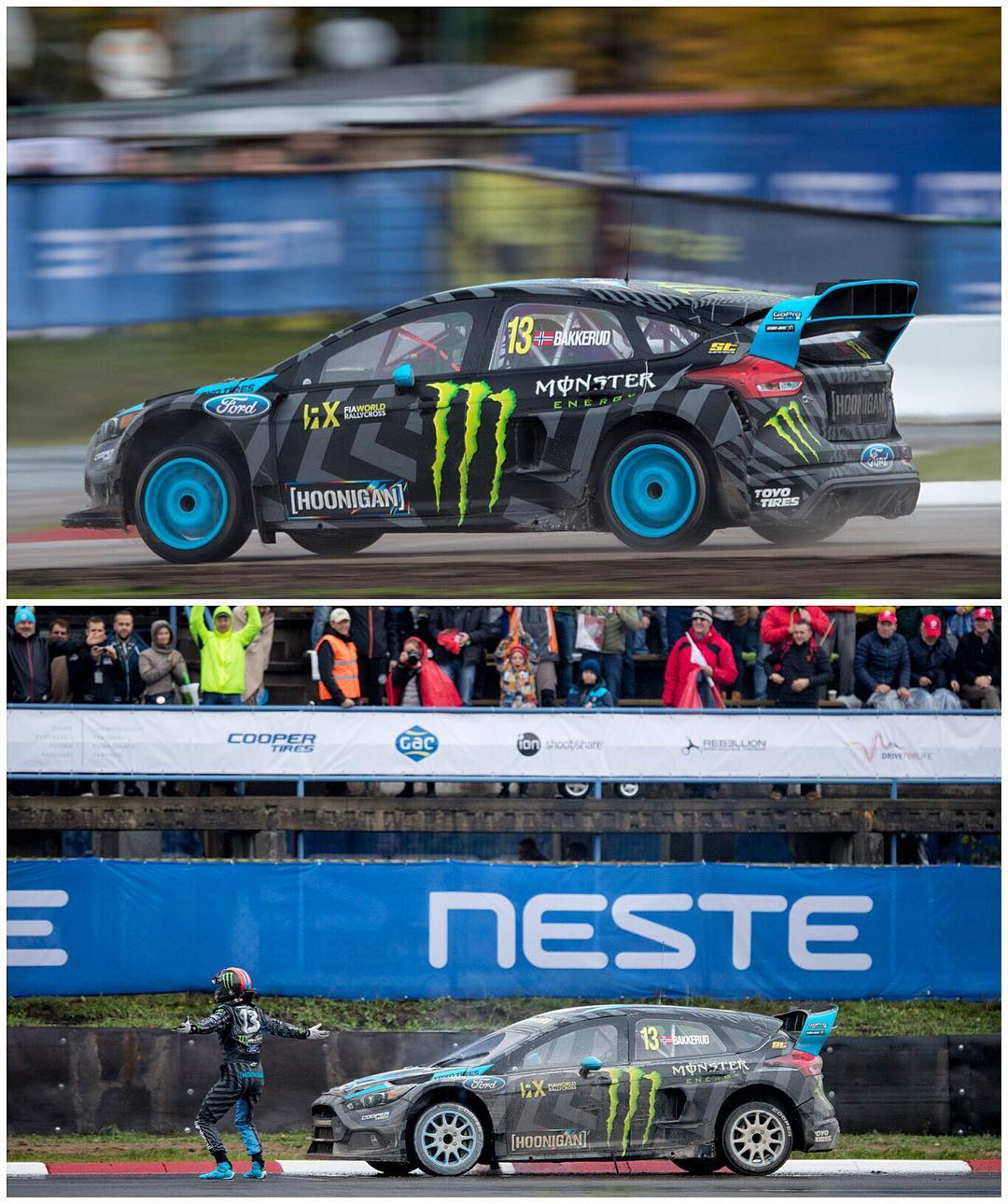 P4 for my Hoonigan Racing teammate @AndreasBakkerud here at #LatviaRX! Great drive from him in these treacherous rainy/slippery conditions. This makes the @FIAWorldRX title chase very interesting - there are only 9 points separating 2nd, 3rd, and 4th...