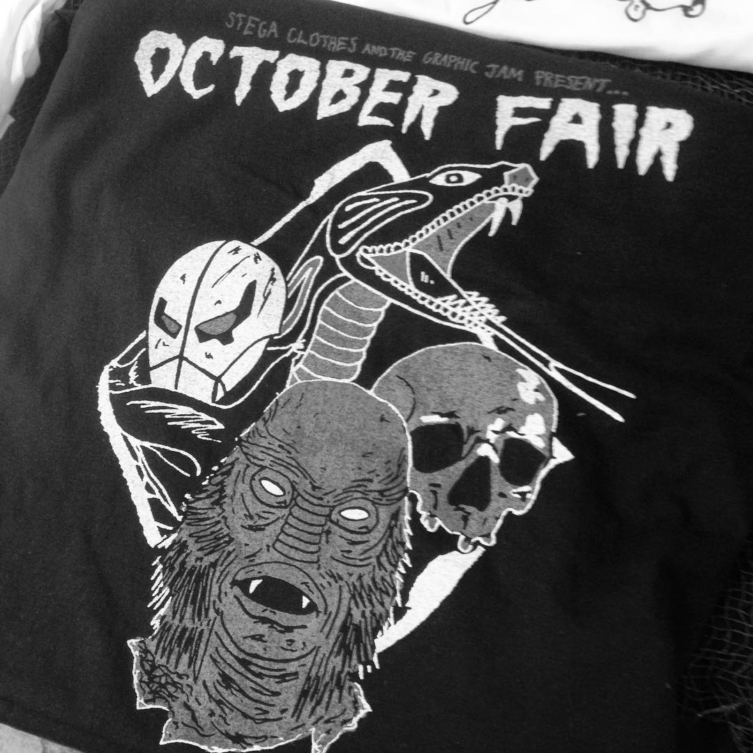 The October Fair starts right now at Graphic Jam in Beverly, ma. We'll have tons of steez stuff for just $5 and $10 each.  Tons of awesome artists and vendors with sick stuff. Check it out 10-4. Shirt by @stegaclothes #graphicjam #octoberfair #steez...
