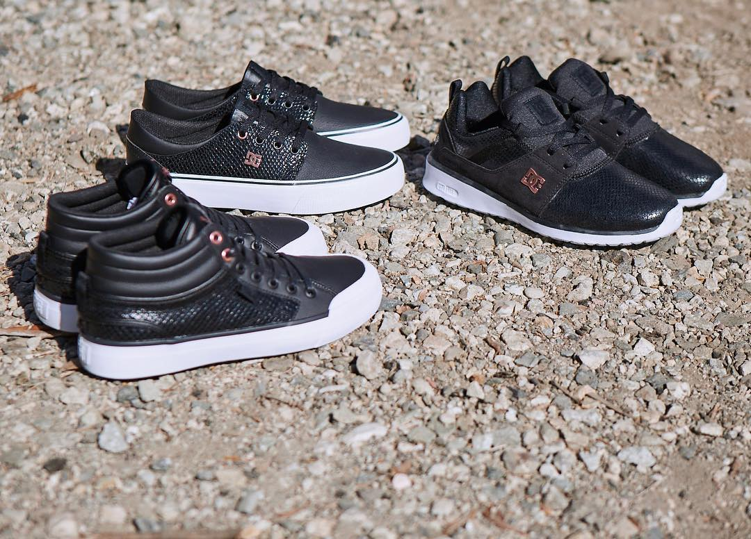 Can you ever have too many shoes? This season we've updated some of our favorite Women's styles with a gloss black snakeskin pattern and rose gold accents.  Check them out at: dcshoes.com/women. #dcshoes
