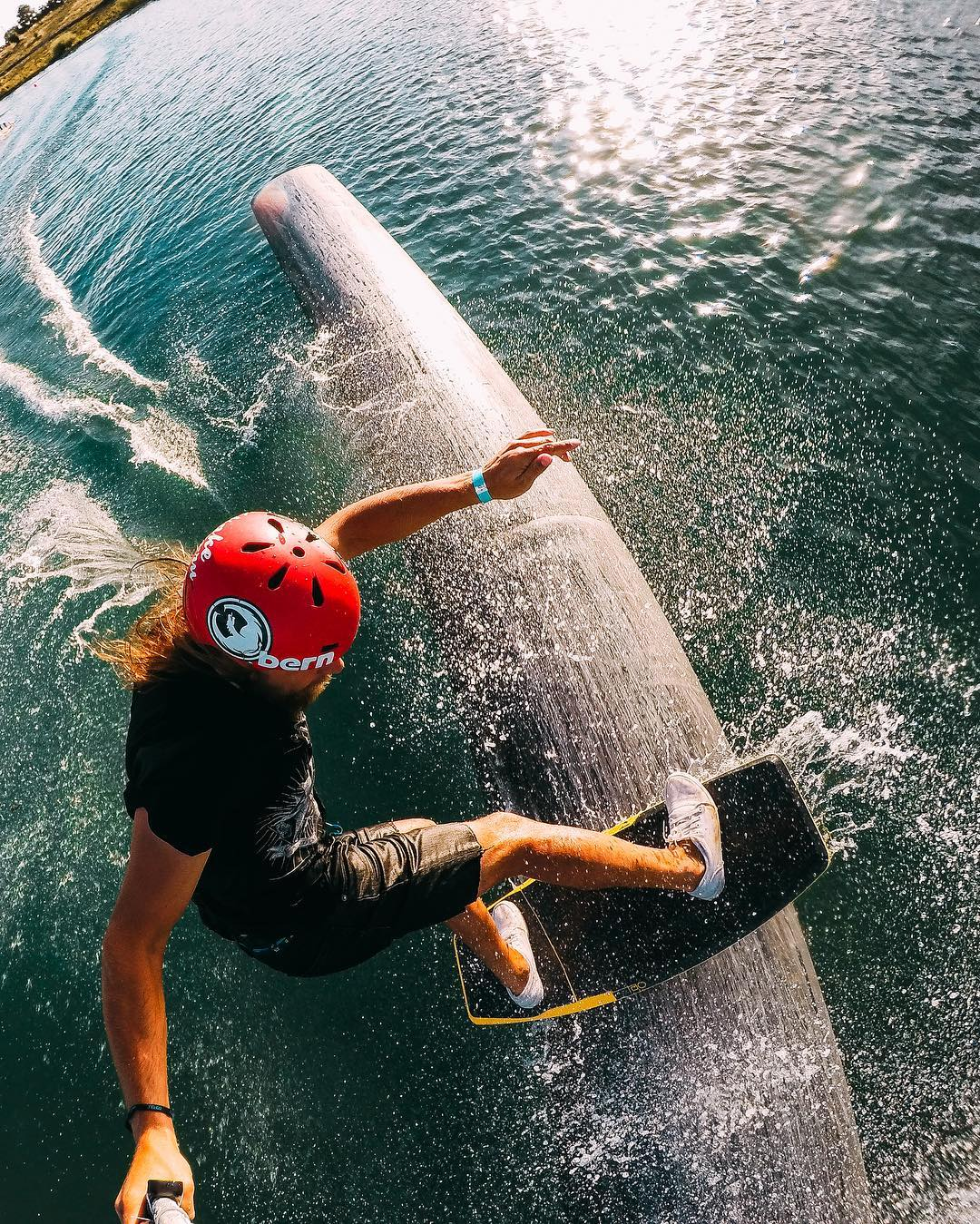 Photo of the Day! #GoProAwards recipient @brymza with a clean pipe slide, scoring $500 on top of mad style points. Yew! #GoPro #Wakeskate