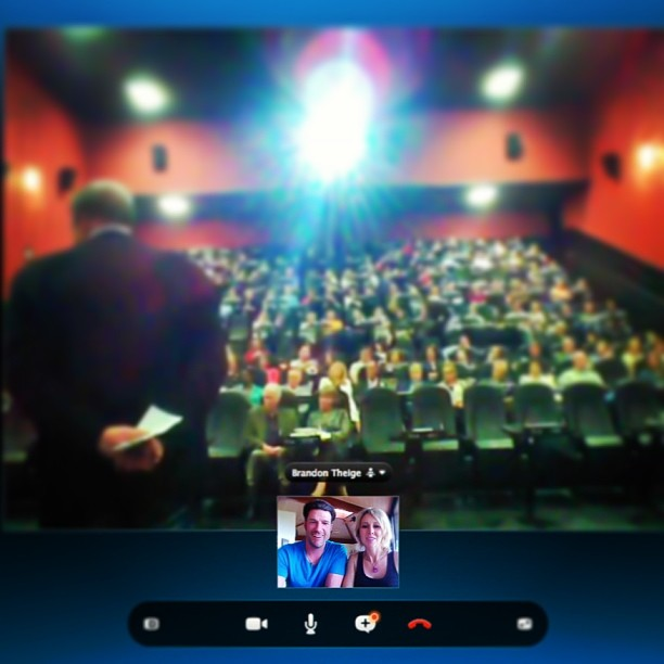 @shawnakorgan & I are having a blast with the @makeahero team - talking to the crowd in #Colorado via @Skype (from #Maui) après their premier showing of #TheCurrent film at the #DraftHouse @alamodenver!!! @bethanyhamilton @leomorales @davidhosick...