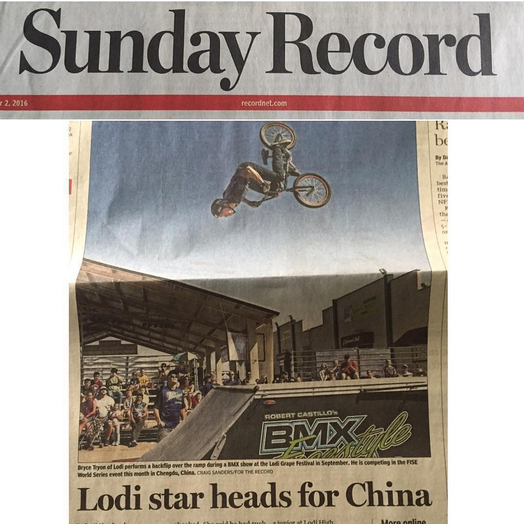 @tryonbmx makes it in the paper again! Later this month he will be competing in China at @fiseworld  Good luck bud #stocktonrecord #fiseworld #hometownhero