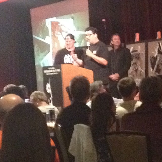 Jeff Grosso and John Lucero announcing Lance Mountain as a 2014 @skateboardinghalloffame inductee. #skate #skateboarding #skateboard #legend #halloffame