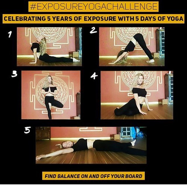Join our yoga challenge for a chance to win prizes! Post yourself doing each of the 5 poses by Nov 5 with the tags @EXPOSURESKATE & #ExposureYogaChallenge . Then participate in the #exposure2016 free yoga clinic and you may win the grand prize!