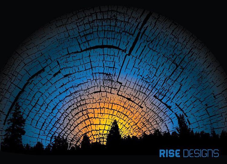 Here is the original artwork from our Daybreak Trucker Hat. Nice and sharp. #risedesigns #risedesignstahoe #truckerhat #nature #art #inspiredbynature #drivenbydesign #sunburst #light #sunset #chasingsunsets #goldenhour #trees #stumpart #woodgrain