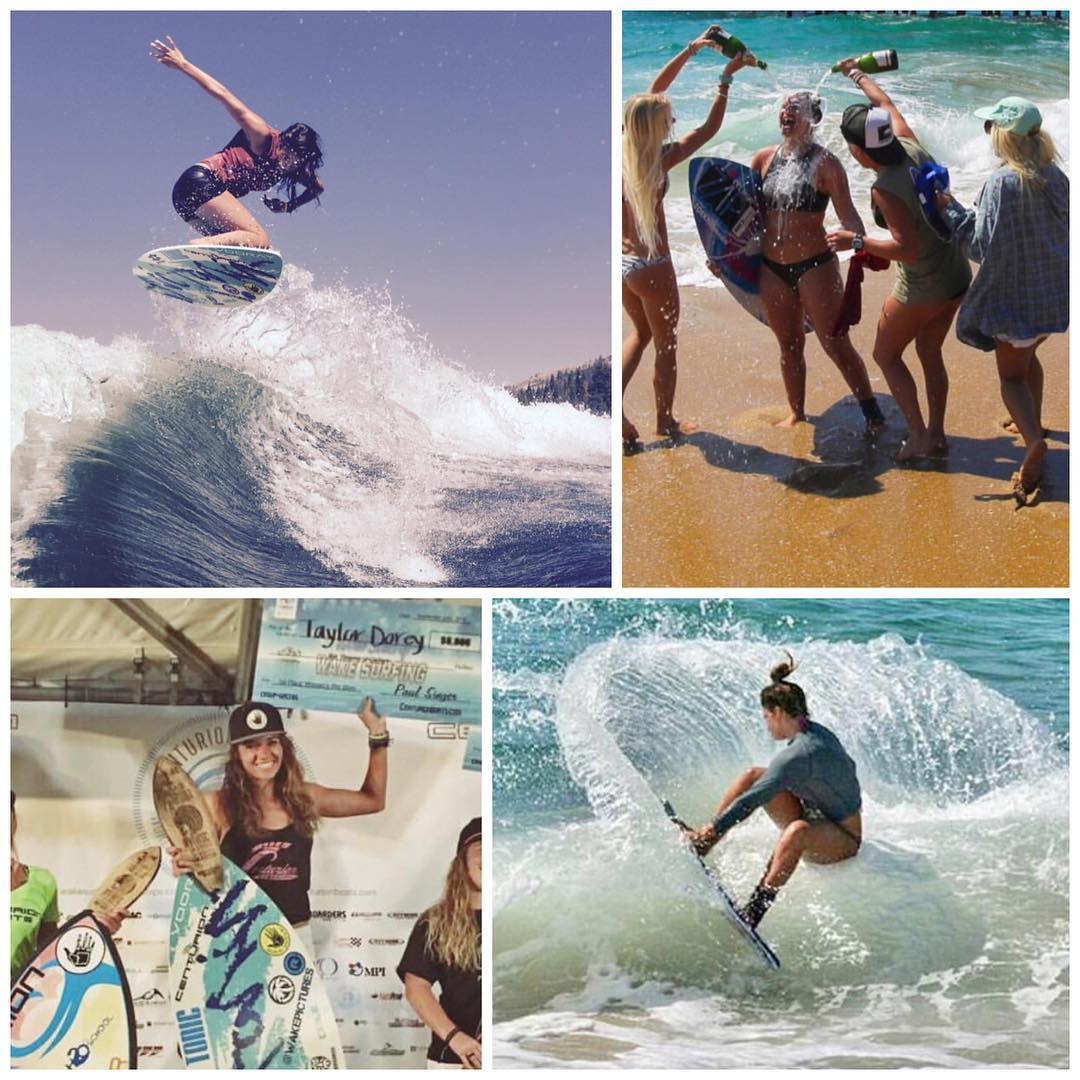 Two of our Revolution Pro Team Riders recently took home 2016 WORLD Champion Status! @taylor_dorey (top/bottom left) dominated women's wakesurfing while @casey_lynn_kiernan killed it in women's skimboarding. Great job ladies! Make sure you give them a...
