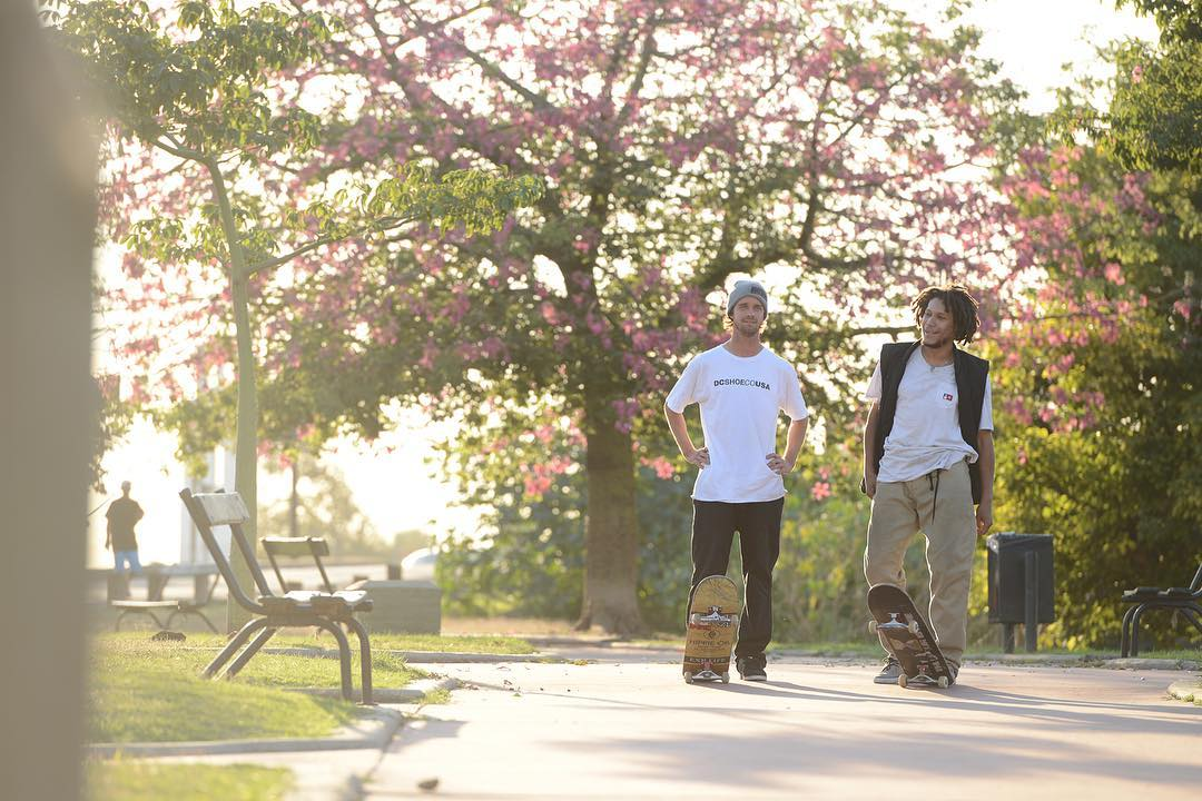 @mattmillerskate and @josefskottjatta enjoying the golden hour at the spot. Photo: @gastonfrancisco. #dcshoes @dc_skateboarding