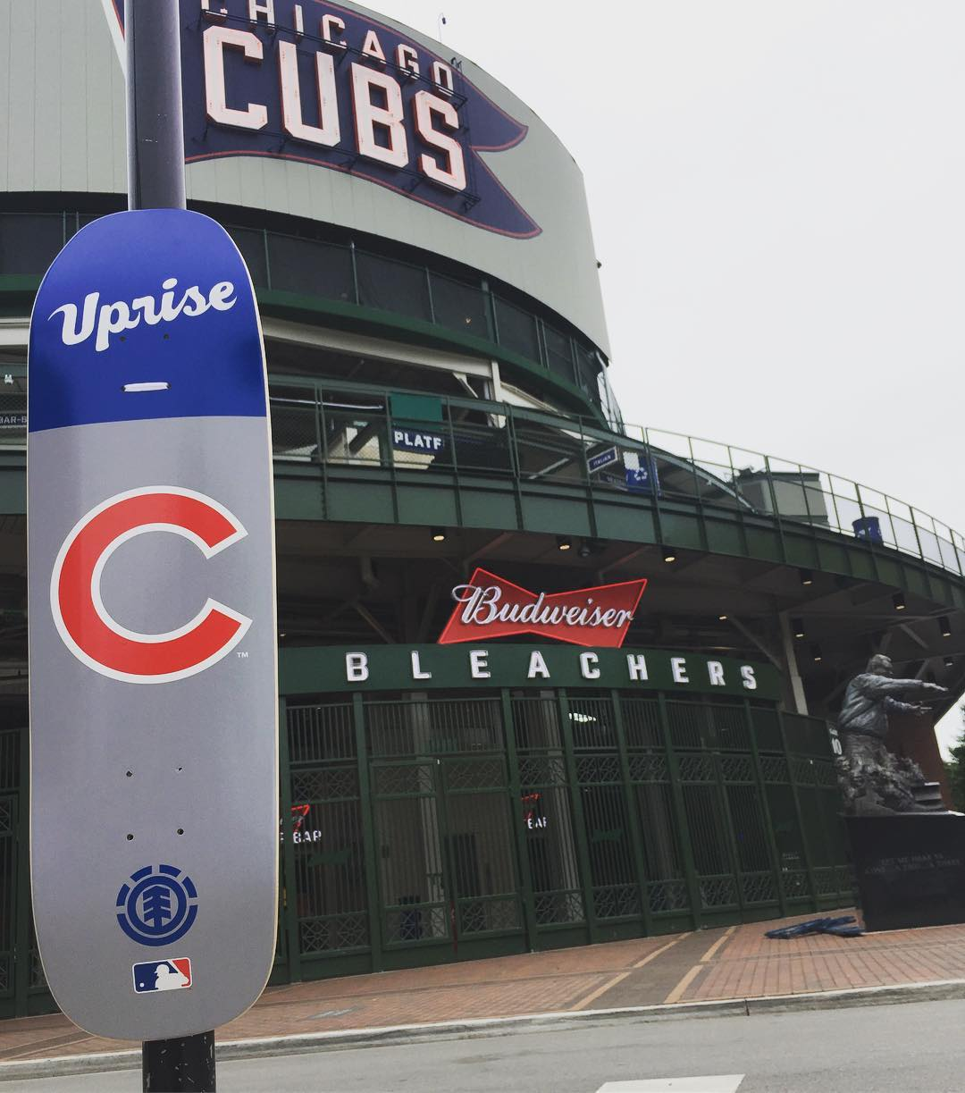 @upriseskateshop is geared up for good times in the windy city, new cruiser shape in stock now, give 'em a follow to find out how to get one >>> @cubs #elementxmlb #supportyourlocalskateshop
