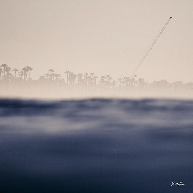 Good morning fog. #orangecounty #huntingtonbeach #crane #fog #outex #sealevel