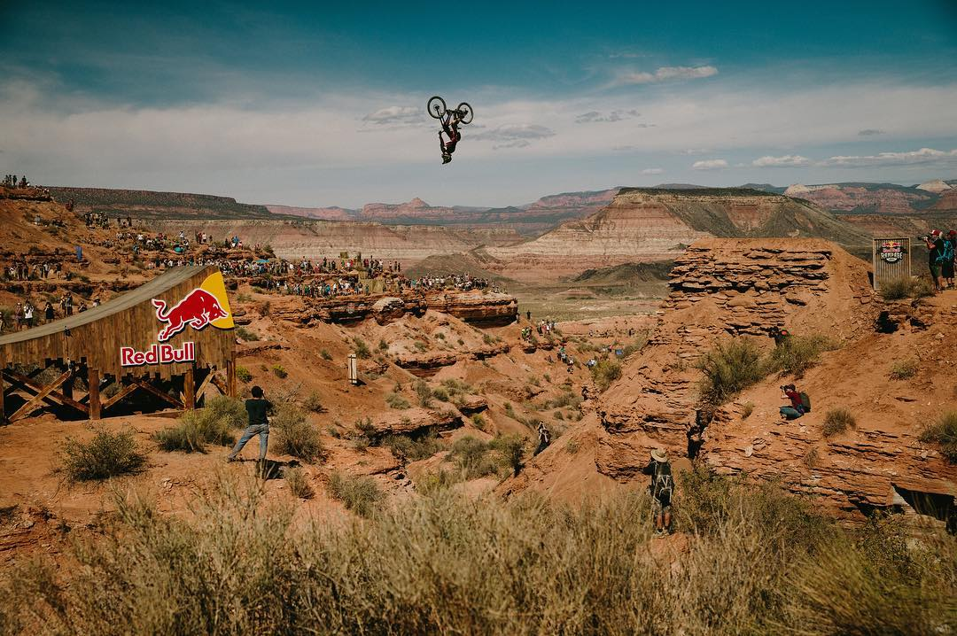 #tbt to @jeffherb insane backflip over the 72 ft gap at @redbullrampageofficial •