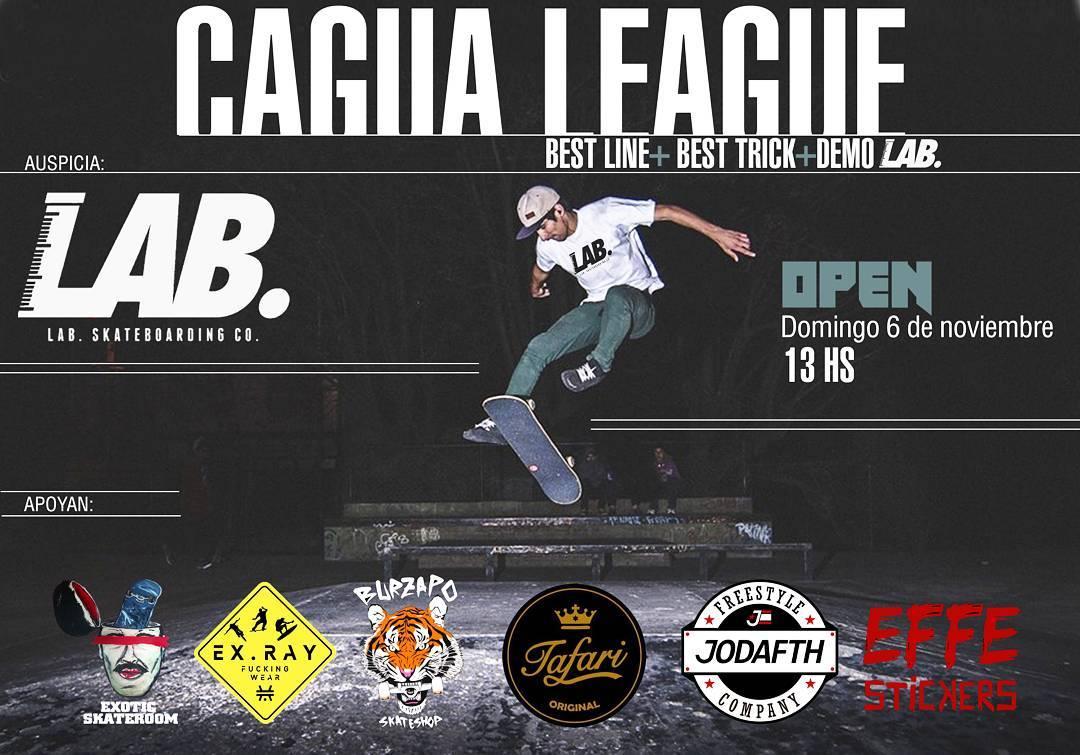 """Atentos amigos !!. @jandro.d nos trae el ... """"CAGUA LEAGUE"""". GRATIS y OPEN!. El 6 de noviembre 13 hs, todos al Skatepark de lomas de zamora. Best line + Best Trick + Demo Team LAB SKATEBOARDING , @marquezsk8 , @ivan_jofre  y el profe @jandro.d . Todos..."""