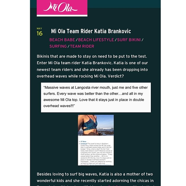 Mi Ola Team Rider Katia certainly helps us put our bikinis to the test. Check out our chat with Katia on the Mi Ola blog! Mi-Ola.com/blog #miola #miolainaction #costarica #puravida #bikiniblog #miolablog