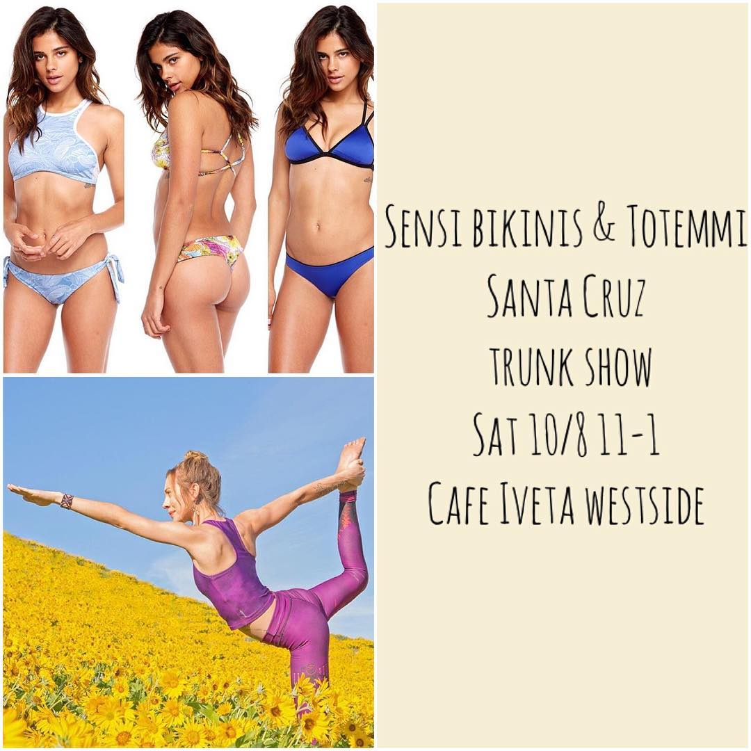 Calling all Santa Cruz bikini babes and yoga lovers! We're in town with loads of bikinis plus yoga wear from our friends at Totemmi. Come and shop both lines this Saturday and score some major deals on pieces you will seriously love. We'll be at Cafe...