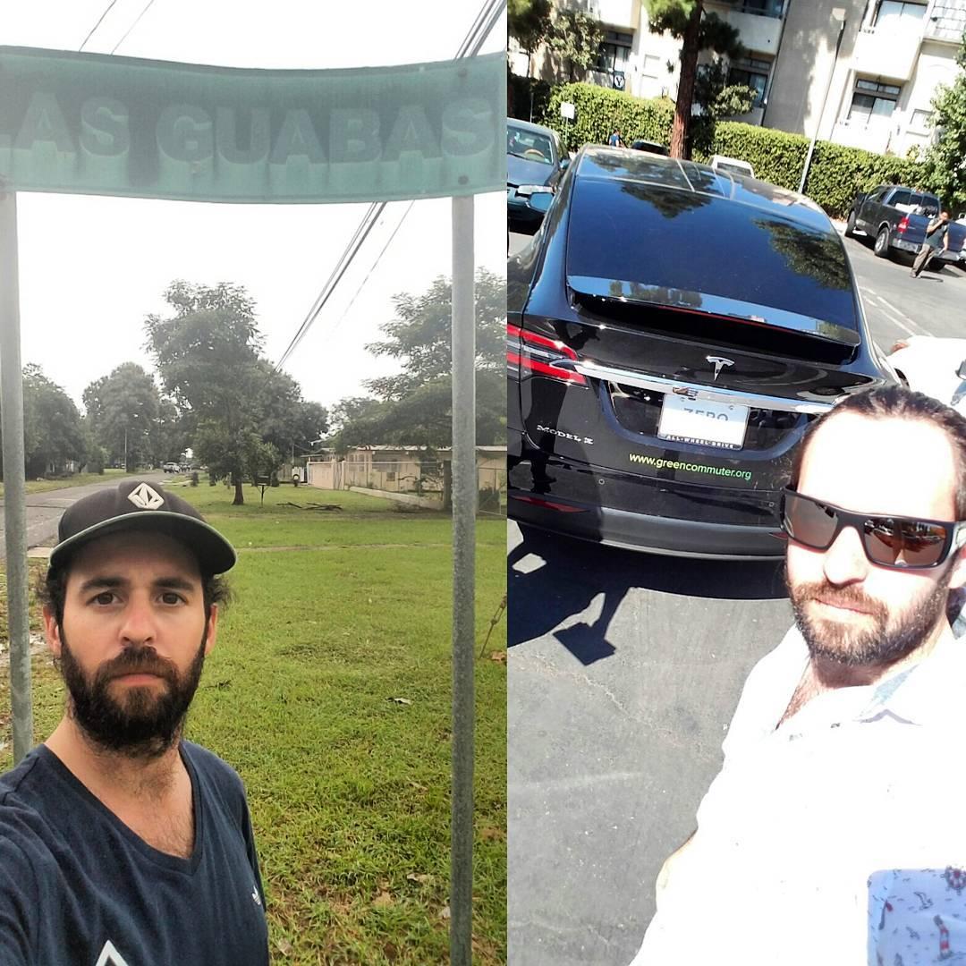 Hace unos cuantos dias andaba paseando por #LosAngles en una camioneta #Tesla. Hoy estoy paseando a pata por #LasGuabas  Dos lugares bien opuestos. Pero siempre sintiendome la misma persona. Siempre Feliz de quien soy y en donde estoy.