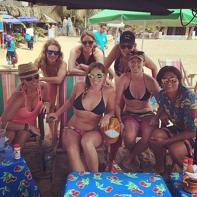Last day at the beach with these #beachbums @hollyjakusz @jeepchick9 @laurenschlanger @hollyjakusz #girlstrip #sayulita #mexico #ceviche #tacos #margaritas #surfing