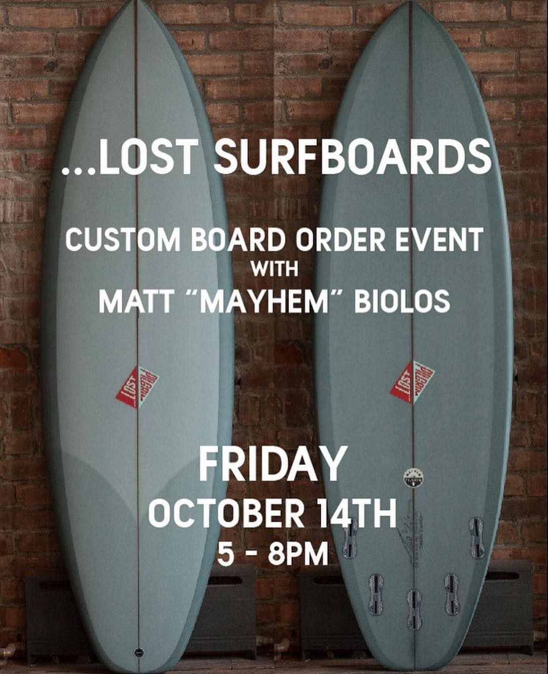 Custom board order event with @mayhemb3_mattbiolos next Friday, October 14th at at @pilgrimsurfsupply. Have a drink and place your custom @lostsurfboards order directly with Matt Biolos