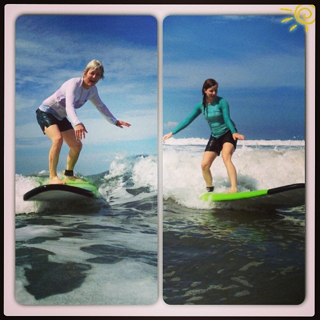 Mother and daughter surf getaway: these two transitioned their skills from the slopes to the waves very nicely!