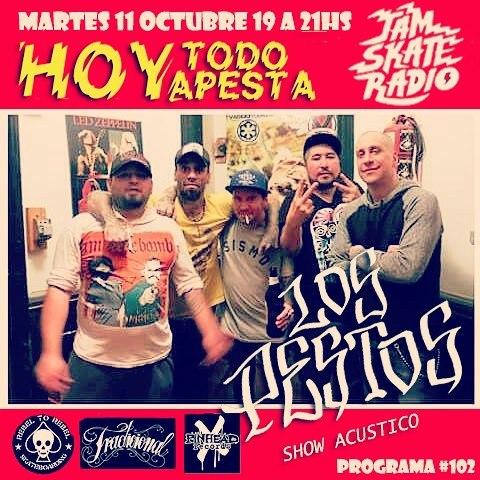 Prox martes en Hoy todo apesta radio show @lospestos en la @jamsk8radio  de 19 a 21hs. @lpzjuanma2 @manefosil #skatepunk #show #acustico