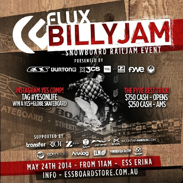Australia! Ready to go shred? Come out to the #fluxbillyjam #essboardstore on May 24th! Cash prizes, giveaways and much more !! #thefluxlife